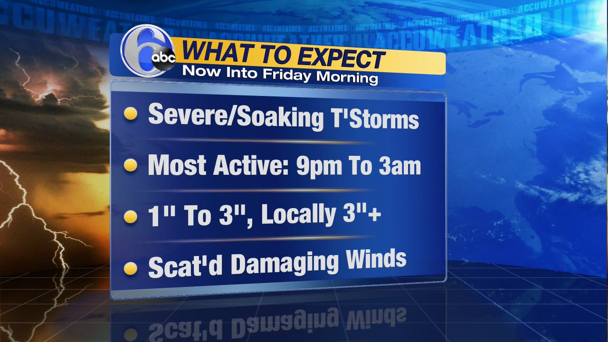 WHAT TO EXPECTWith tonight's t'storms. The most active period will be when an area of low pressure moves through.