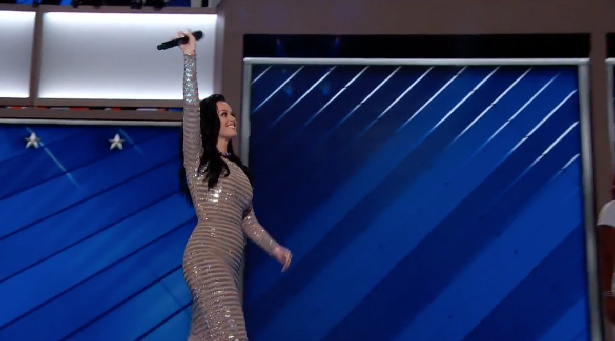 Katy Perry RISING the  ROARING for HRC - awesome performance at the Democratic Convention https://t.co/2s8d9BCWmb