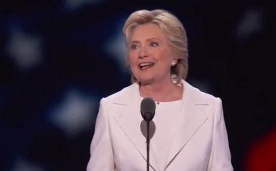 Hillary Clinton speaking live at DNC.