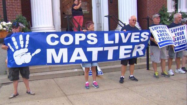 Police Protest Somerville City Hall Black Lives Matter Banner