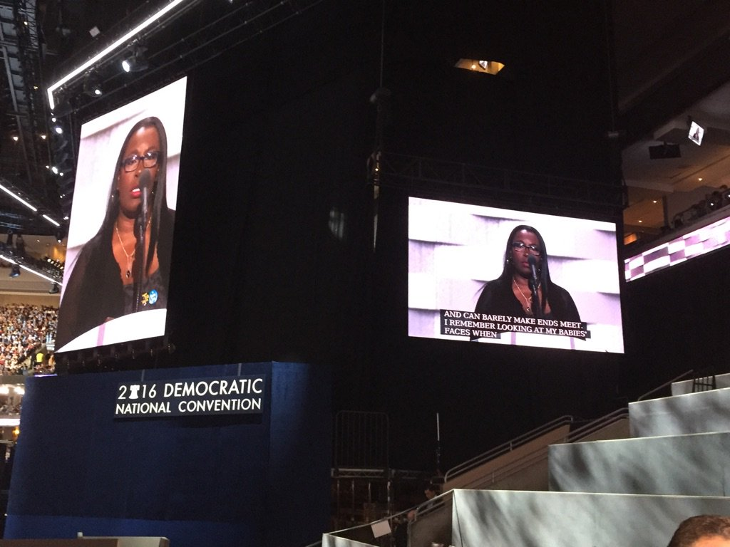 Detroiter Henrietta Ivey at the podium right now urging a $15 minimum wage -and getting strong support. dncinphl