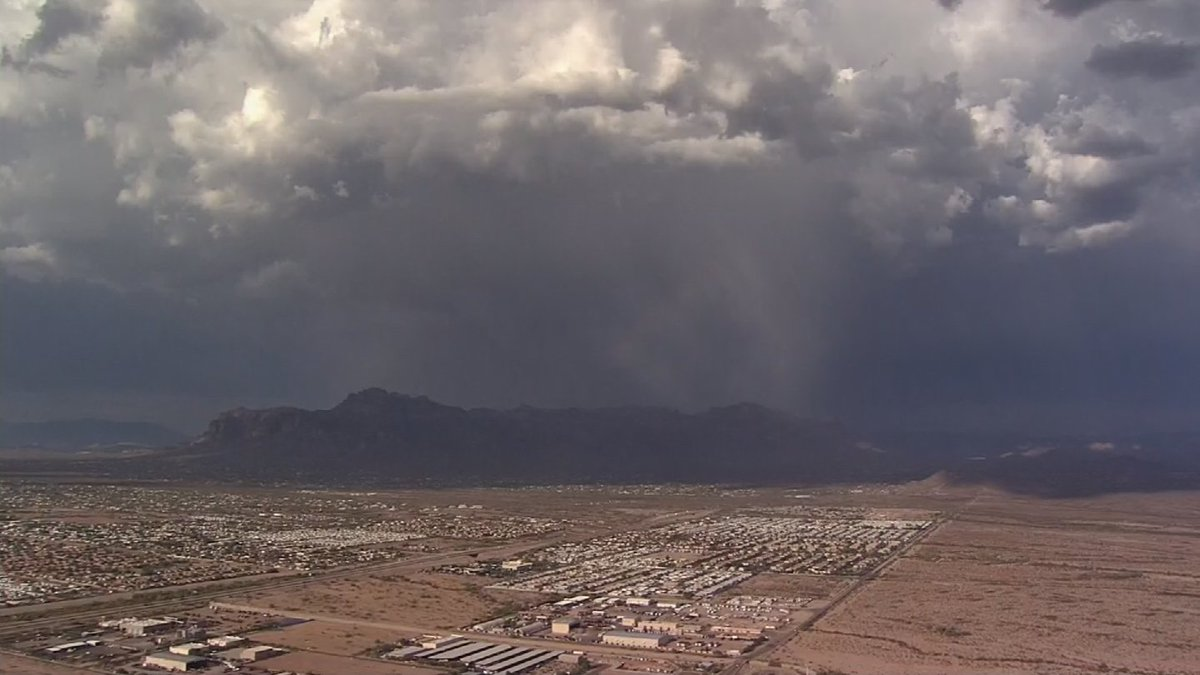 Chopper aerials of possible monsoon storms in the far East Valley. Watch LIVE