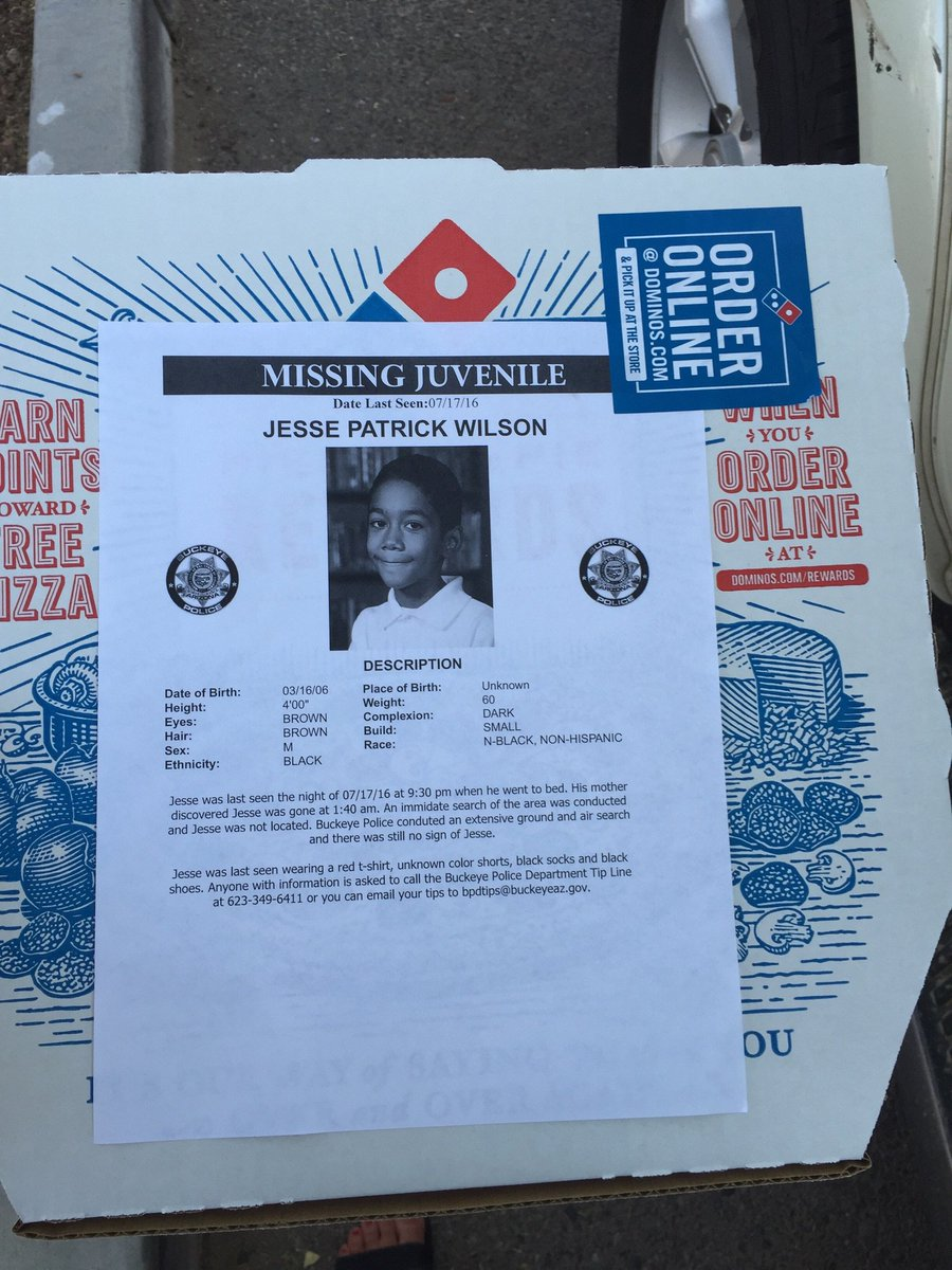 Buckeye Dominos doing their part to try and bring Jesse home-- posting his flyer on their pizza boxes abc15