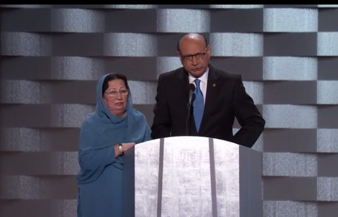 Parents of fallen Muslim soldier are speaking now at DemsinPhilly