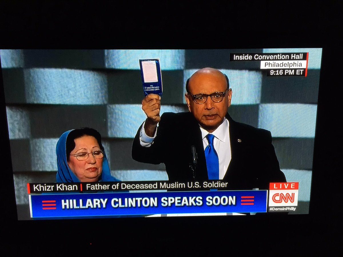 "Khizr Khan, ""Donald Trump, have you ever read the constitution? I will give you my copy."" #DemsinPhilly https://t.co/KInI8t1MjZ"