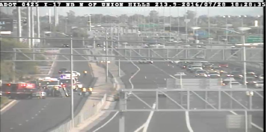 I-17 NB, south of Union Hills: Two right lanes closed due to crash. Frontage road also closed. PhxTraffic