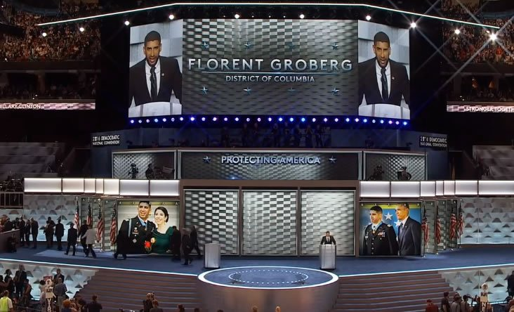 Florent Groberg, Retired U.S. Army Captain speaking now at DNCinPHL