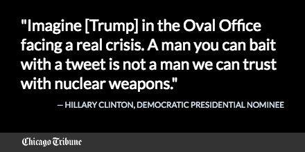Hillary Clinton speaks about Donald Trump: