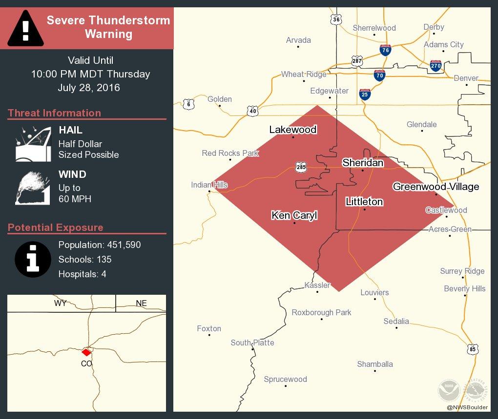 ️ Take Cover! Severe Thunderstorm Warning including Littleton CO and Southglenn CO until 10:00 PM MDT