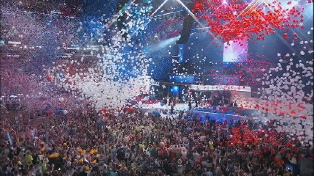 A sea of confetti and balloons rains down on the Democratic Convention. DemsInPhilly