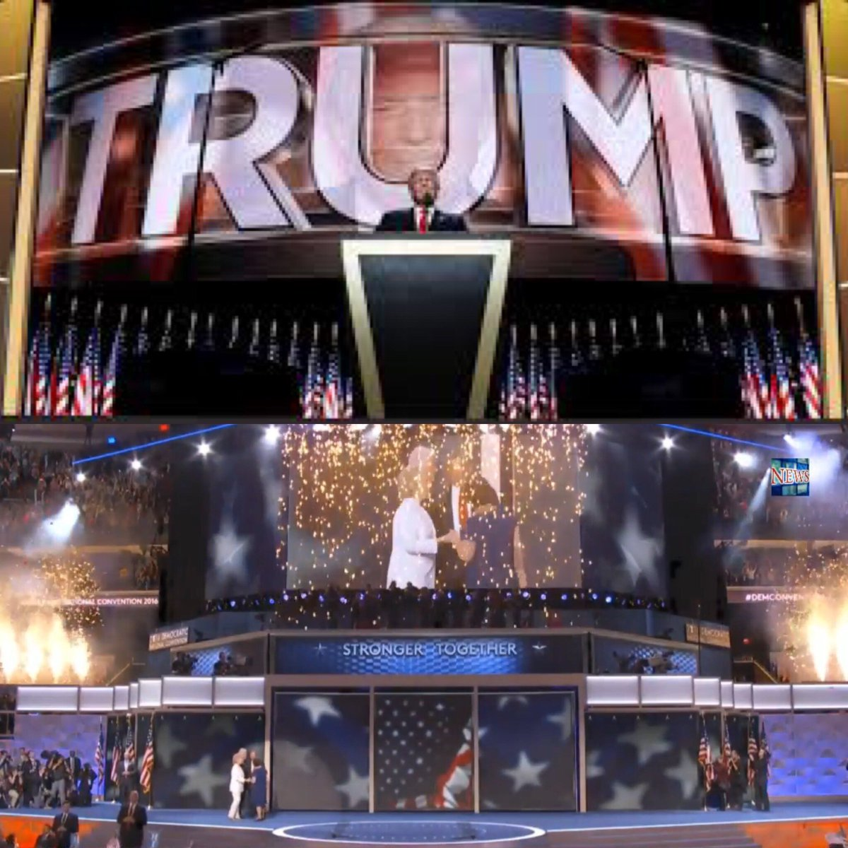 """Shocking how different the stages looked during acceptance speeches. One says """"Together,"""" the other says """"Trump."""" https://t.co/szmaC6EUM2"""