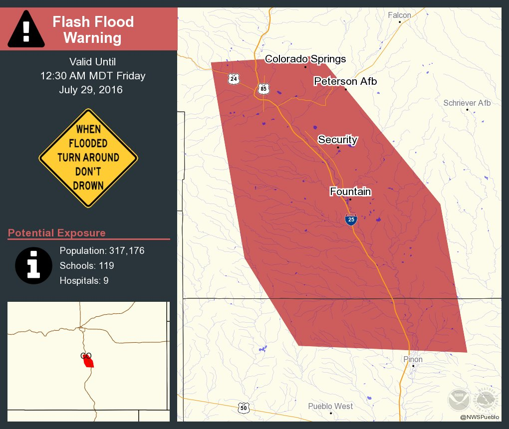 ️ Move to higher ground! Flash Flood Warning continues for Colorado Springs CO until 12:30 AM MDT