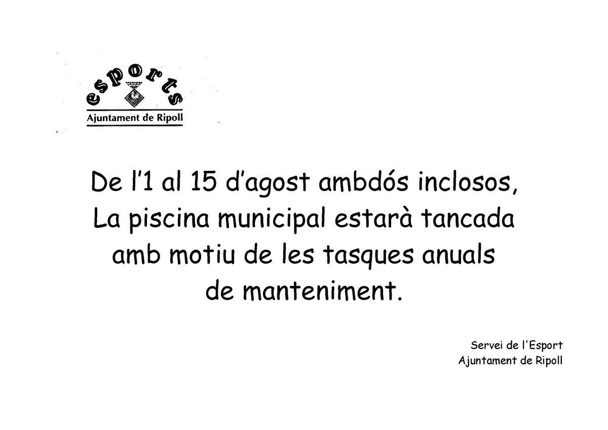 Ajuntament de ripoll aj ripoll twitter for Piscina municipal ripoll