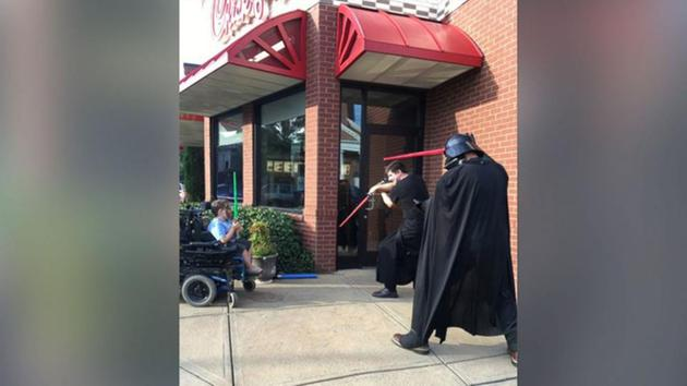 Chick-fil-A 'Jedi' play with boy in wheelchair after other kids leave him out