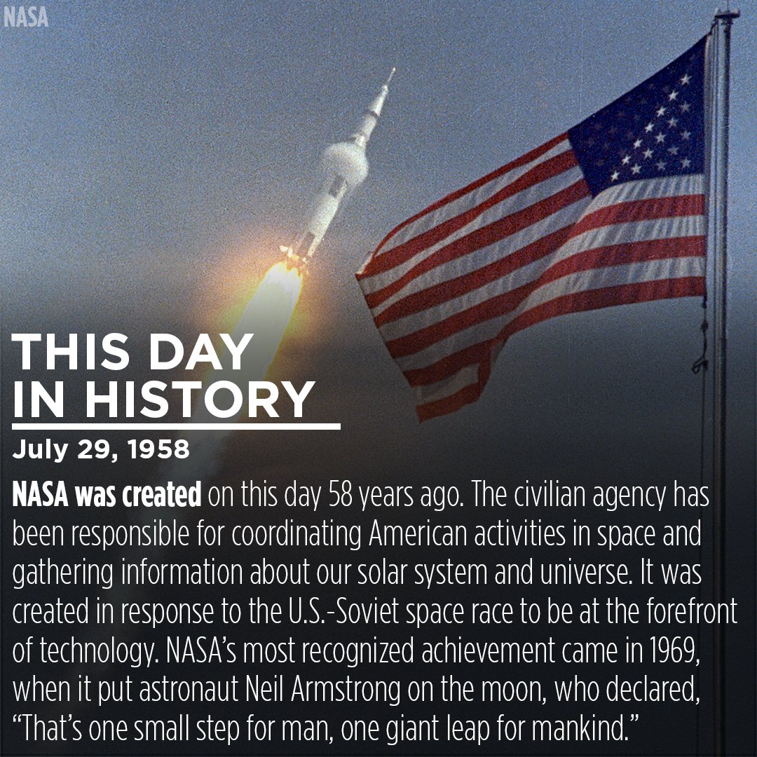 @NASA was created 58 years ago on this day -- July 29, 1958!