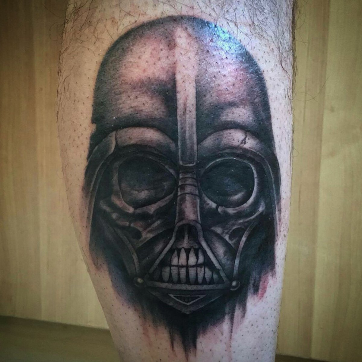 #Tattoo Awesome of the Day: #Gothic #DarthVader Skull Leg Piece by Craig at @thedevilsclubuk #UK #SamaTattoo