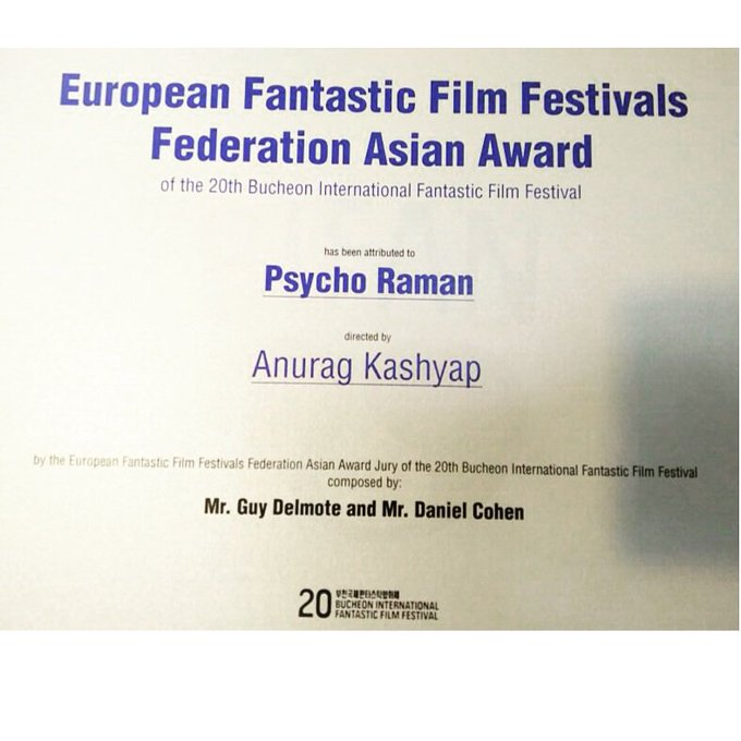 Psycho Raman wins BestAsian genre film@BiFan(Korea) and Rohit Mittal's'Auto Head' wins best Actor for'Deepak Sampat' https://t.co/jG2lXD2rhf