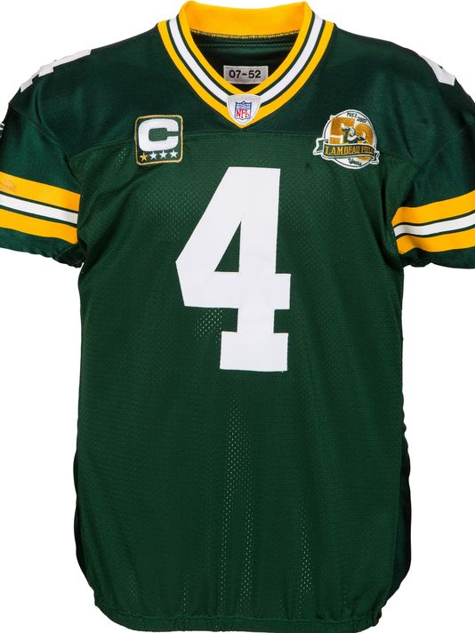 sports shoes bff06 6c359 3 historic brett favre game-used jerseys will be auctioned ...