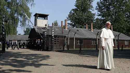 Pope Francis pays somber visit to site of former Nazi German death camp of Auschwitz