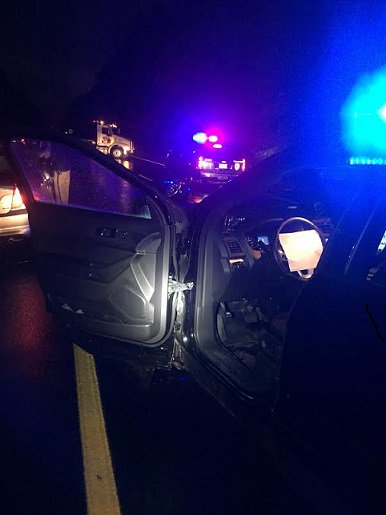 Investigating a drunk driver that crashed, Tprs took cover as their patrol veh was struck by another drunk driver.