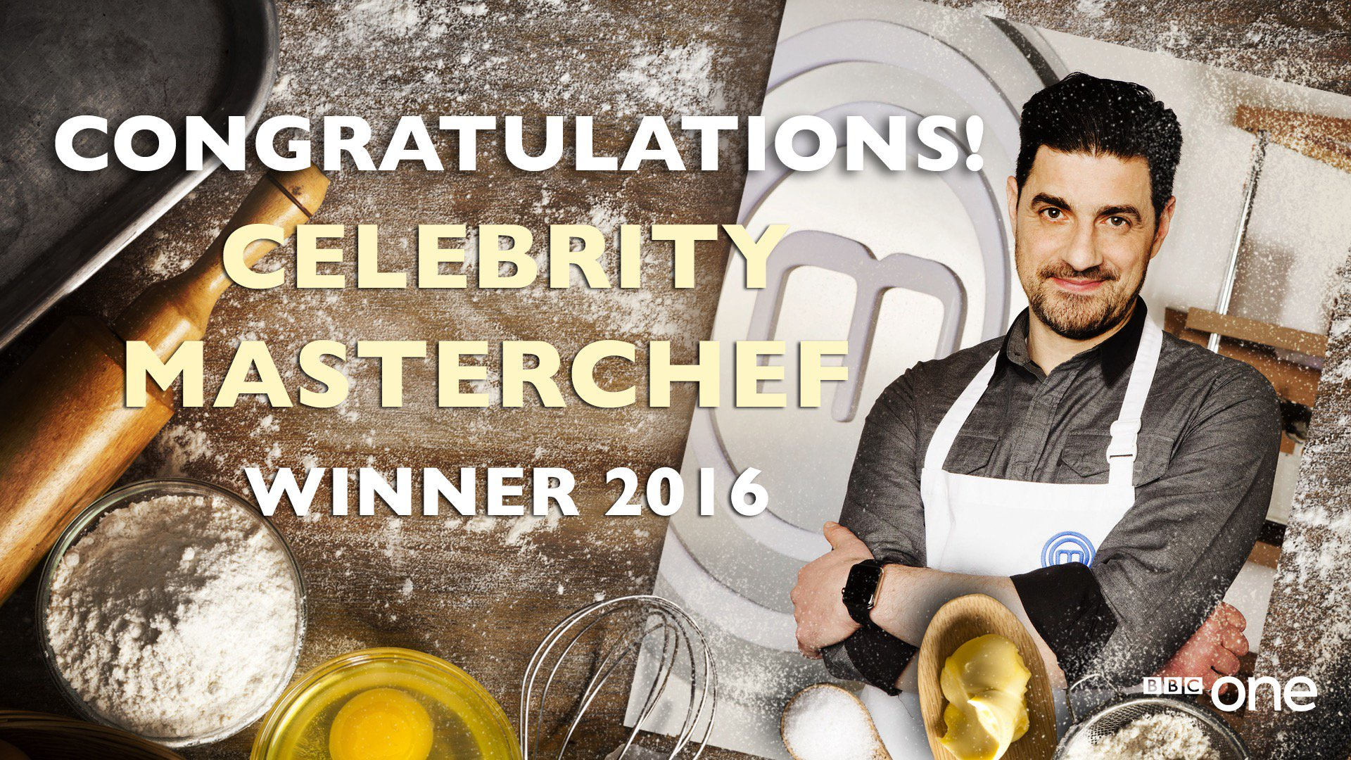 Congrats to my pal RT @BBCOne: What a winner! Congratulations @alexisconran. #CelebrityMasterchef champion 2016. 🎉🎊🎉 https://t.co/JrC38F069S