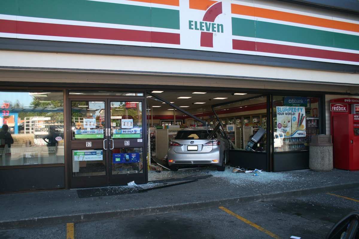 Car into 7-11 Store. 55 Year old Edmonds Woman, no injuries. Hit gas instead of brakes. Cited-Negligent Driving.