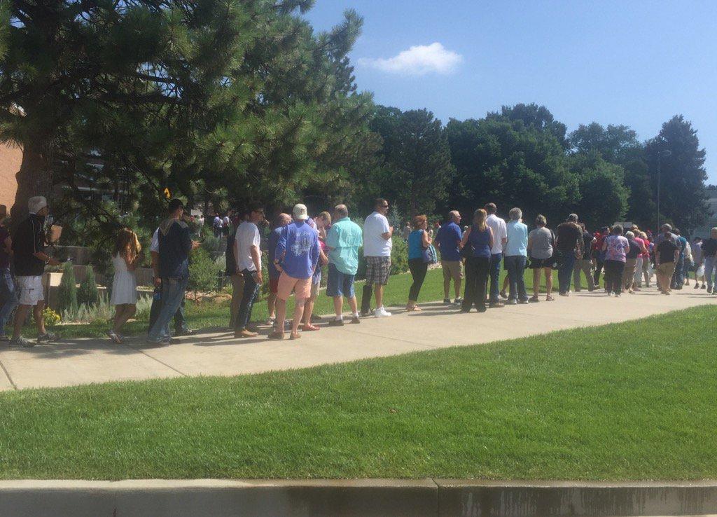 Trump townhall meeting line long at University of Colorado Colorado Springs.
