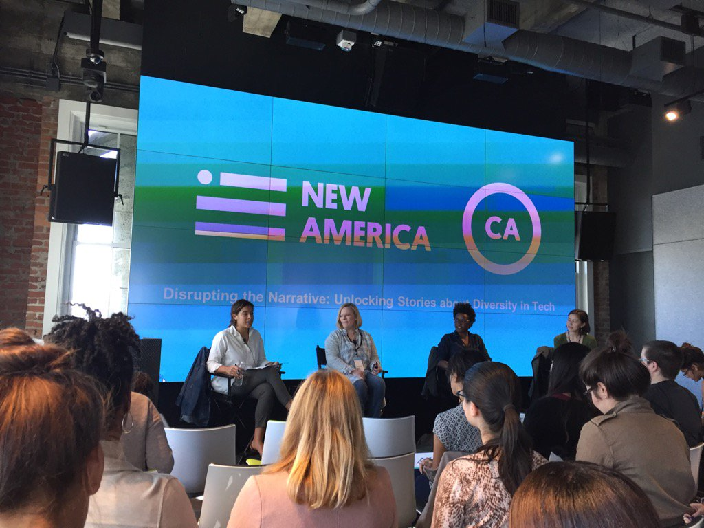 At this @NewAmericaCA diversity-in-tech event, I am 1 of 3 men in audience of several dozen women. Do better, dudes. https://t.co/BSXBxWWu8j