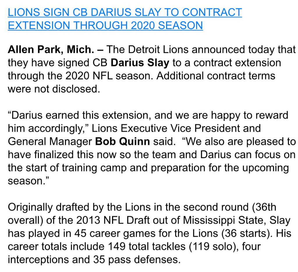 Lions officially announce contract extension for Darius Slay