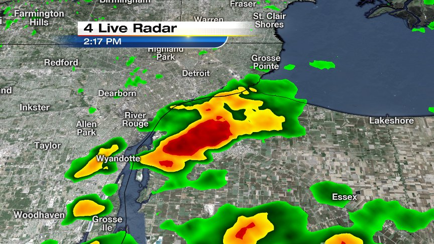 Heavy downpour just across the river over the Windsor area. Nearly stationary, so there will be heavy rain amounts.