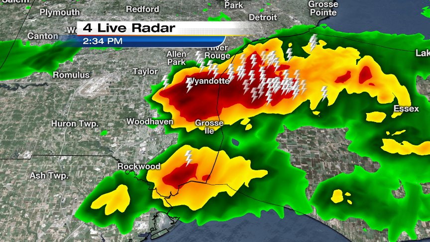The Windsor downpour has been backbuilding westward...now also over the Downriver area.