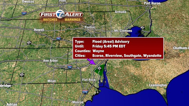 Flood Advisory until 5:45 PM for Central Wayne Co. Slow moving storm may bring another 1