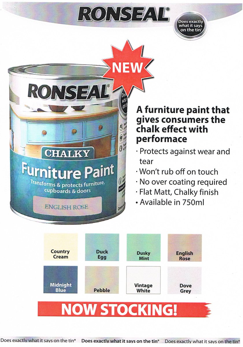 Ronseal chalky furniture paint ronseal - Mcneill Diy On Twitter Now Stocking Ronseal Chalky Furniture Paint 8 Colours Available And No Need To Wax Or Laquer Https T Co Qkxkxbznel