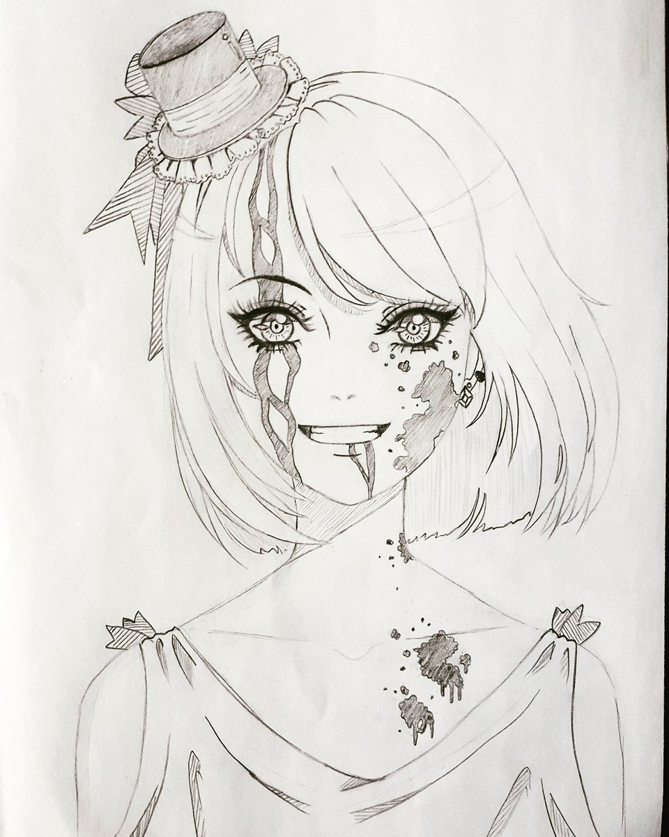 Ragz art on twitter art tophat ribbons blood anime girl drawing smile shorthair sketch fashion cute creepy رسم انمي بنت