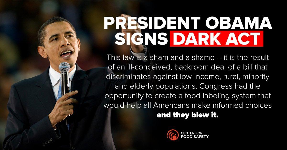".@POTUS signs #DARKAct #GMO ""non-labeling"" bill, sells out Americans to #Monsanto et al https://t.co/9kkjZMYoHx https://t.co/6meXzurNsk"