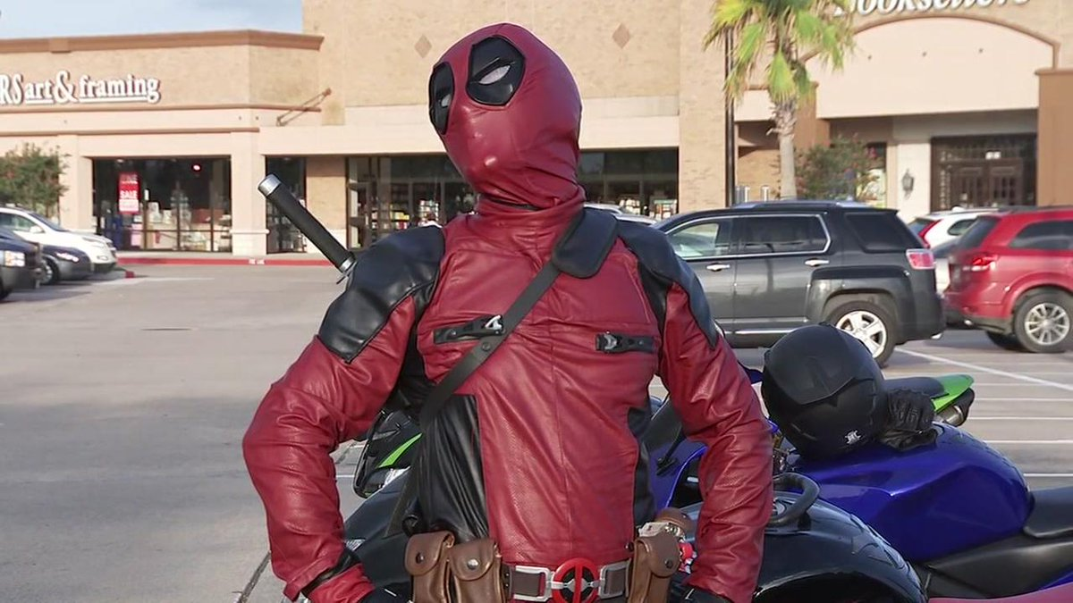 Meet the man who wheels around town dressed as Deadpool. marvel