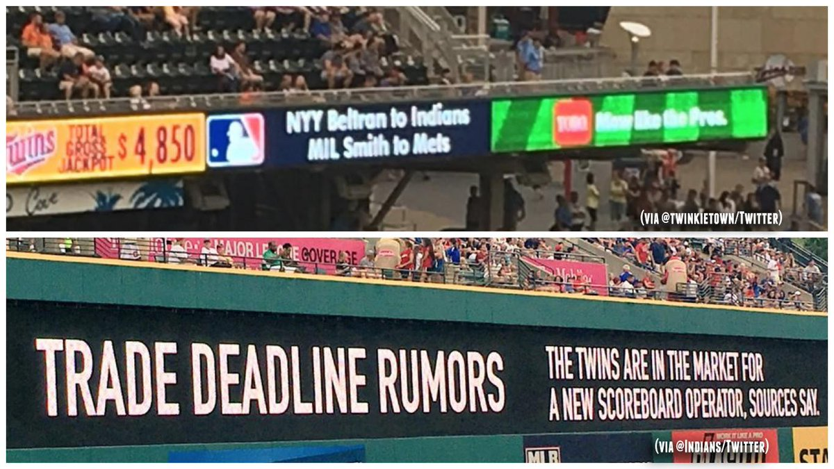 The Twins appeared to report Carlos Beltran traded to Indians yesterday. So Cleveland had fun with that today.