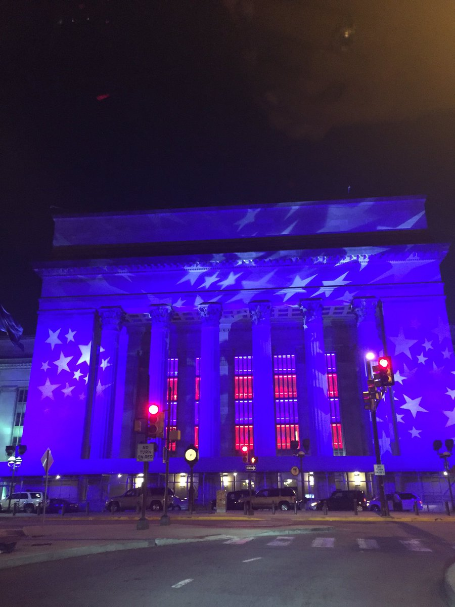 30th Street Station glowing with American pride! Gorgeous sight to end this week! fox29DNC @FOX29philly