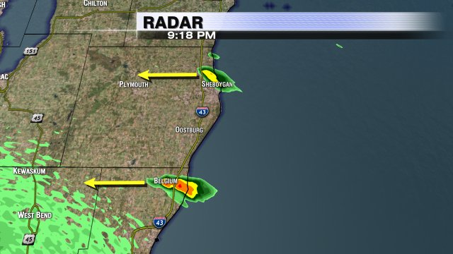 9:18pm: T-Storms moving in from the east off of Lake Michigan impacting Sheboygan & Belgium. Decent downpours.