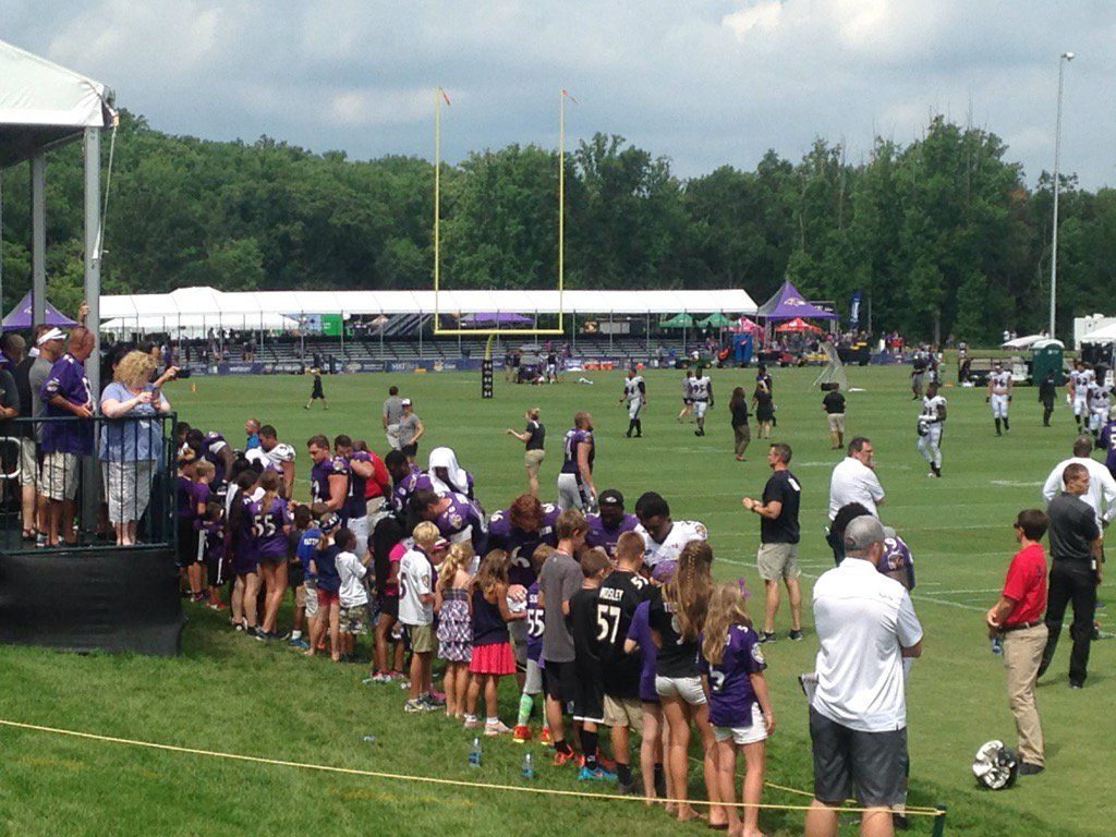 Ravens players working the autograph line TrainingCamp