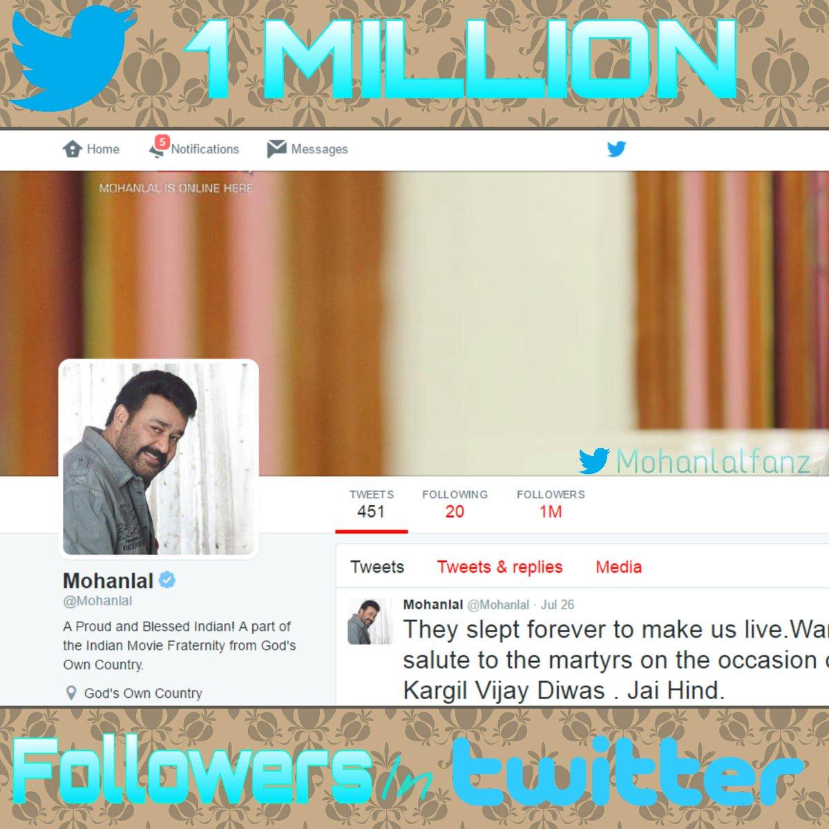Mohanlal Crosses 1 Million Followers On Twitter