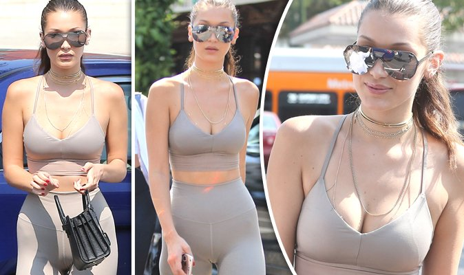 Bella hadid suffers from unfortunate camel toe in barely-there nude leggings and busty top ...