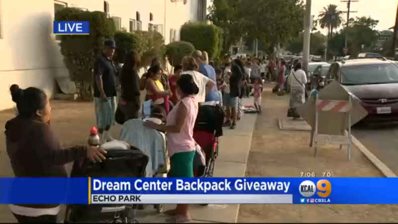 Kids, families lining up early for annual back-to-school backpack giveaway in Echo Park