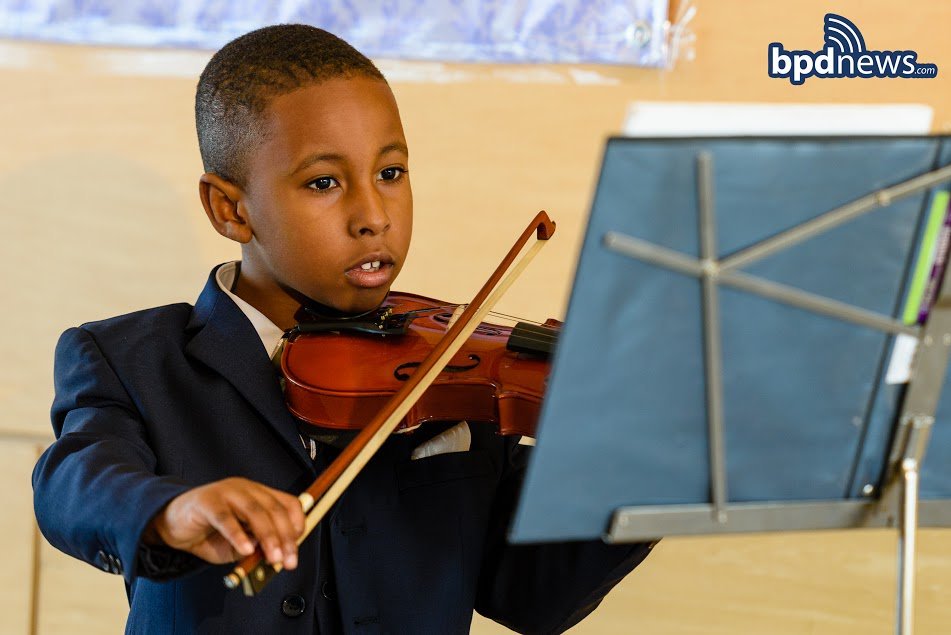 Commissioner & BPD officers were serenaded by Ashton on the violin, 1 of the 5 instruments he is learning to play!