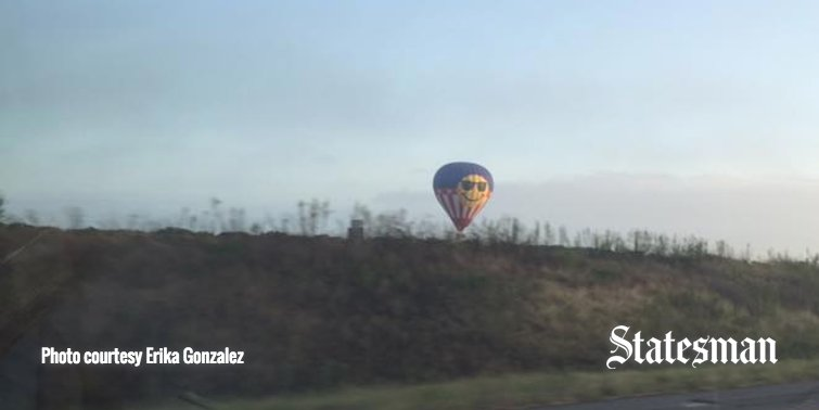Minutes before it crashed near Lockhart, a reader took this photo of the hot air balloon