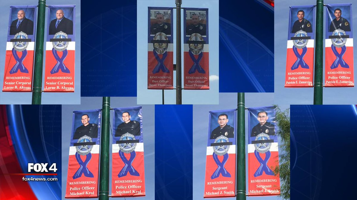 New banners around downtown Dallas honoring our 5 fallen officers put up yesterday. DallasStrong NeverForget