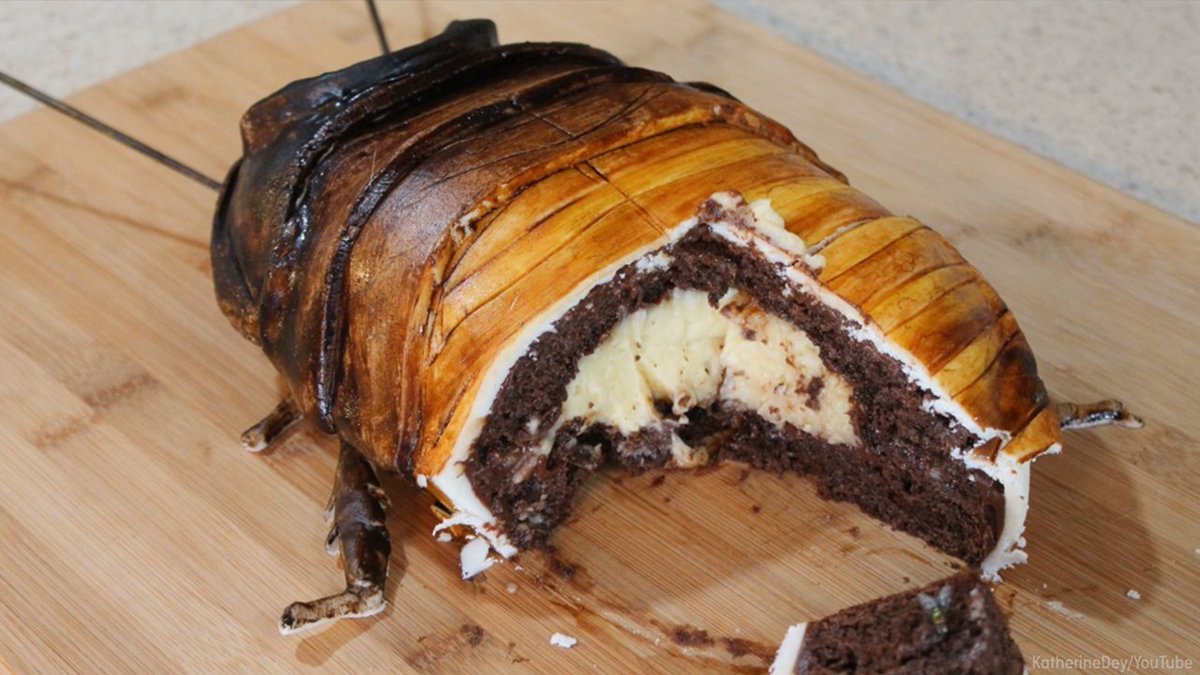 Would you take a bite out of this grossly delicious cockroach cake?