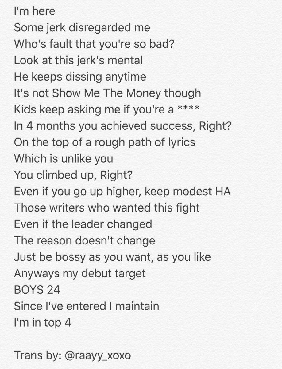 Ray On Twitter Trans Ep7 Unit Skys Yonghyun Lyrics Rap