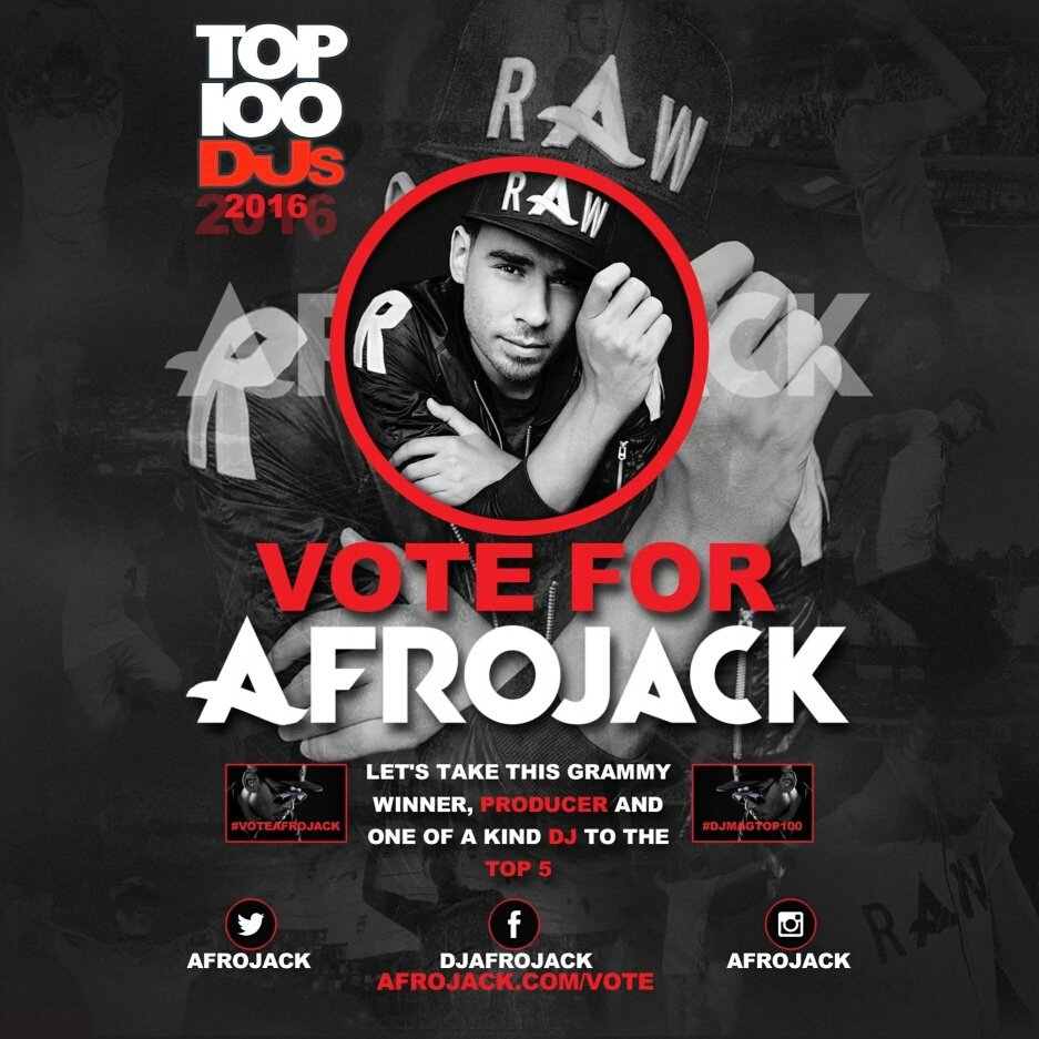 If you haven't voted @afrojack in DJMag Top 100, please do us a favor and VOTE Now!