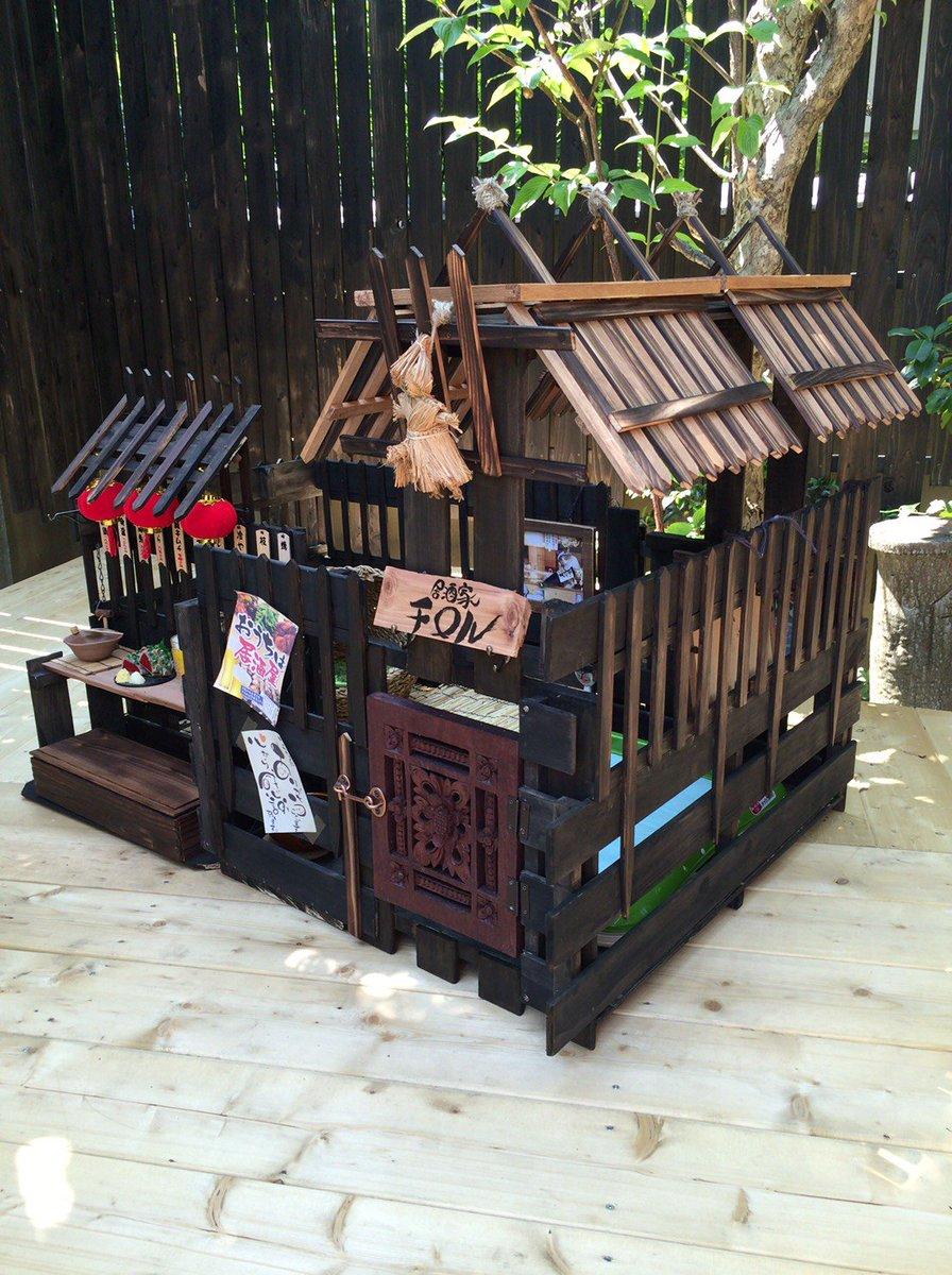 これが母の部屋のドライバー音の正体か、、100均グッズで居酒屋風犬小屋を自作した母である。チロルかわいいです。